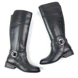 MARC FISHER Gatway riding boots 8.5W black leather